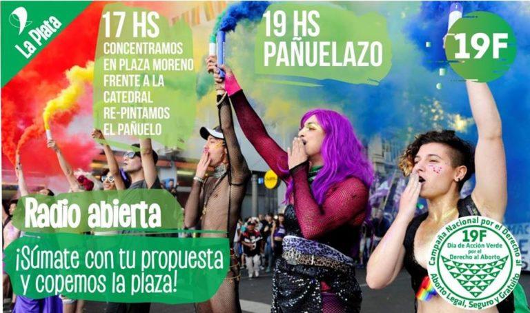 Pañuelazo en La Plata por el Día de Acción Verde por el derecho al Aborto